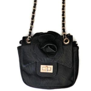 Crossbody Bag  Black/Gold  Free Coin Purse